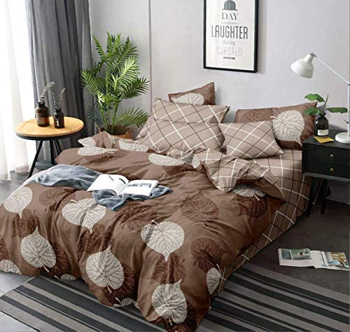 MORADO Glace Cotton Single Bed Quilt Cover / Duvet Cover / Rajai Cover / Blanket Cover with Zipper (60 X 90 Inches, Brown)