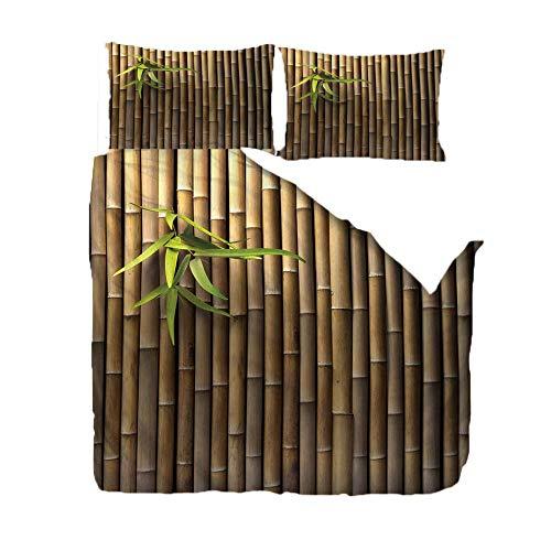 QHDHGR Funda nordica Cama Hojas Verdes y Balsas de bambú Fundas edredon con 2 Fundas de Almohada - Muy Suave Microfibra Polyester Diseño de Impresión 220x240cm (para Cama de 150)