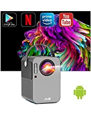 Smart Android 9.0 Beamer, Artlii Play Pro WiFi Bluetooth Projector, Mini Beamer 1080p Full HD Ondersteund, Dolby Stereo Sound, 4D ± 45 ° Correctie, Home Cinema Mini Projector met Netflix, YouTube, Prime Video