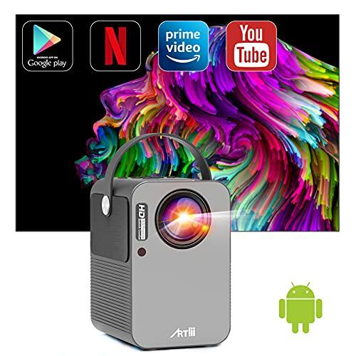 """Proyector Android TV 9.0, Artlii Play Proyector Smart WiFi Bluetooth Portátil, Dolby AC3, Corrección Keystone 4D de ± 45 ° y Zoom, Cine en Casa de 200 """""""