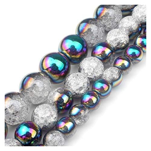 HETHYAN Cuentas redondas de cristal agrietadas de 12 mm, color negro, para hacer joyas, pulseras, collares, pendientes de 15 pulgadas (tamaño: 10 mm)