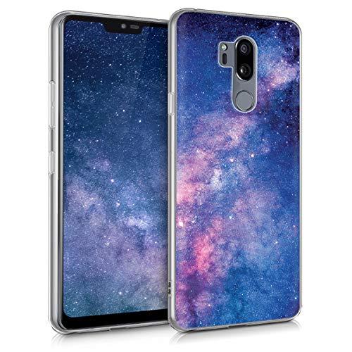 kwmobile Hülle kompatibel mit LG G7 ThinQ/Fit/One - Handyhülle - Handy Hülle Galaxie Sterne Rosa Pink Dunkelblau