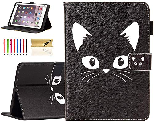 Universal 8.0 inch Tablet Case, Dteck Stand Folio Flip Wallet Case for iPad Mini 7.9'/ Galaxy Tab 8.0 /Fire HD 8/ Nextbook Tagital/Dell/HP/LG G Pad and More All 7.5-8.5 inch, Black Cat