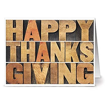 Note Card Cafe Thanksgiving Card Set with Kraft Envelopes   24 Pack   Blank Inside Glossy Finish   Thanksgiving Blocks Design   Bulk Set for Gifts Greeting Appreciation Corporate