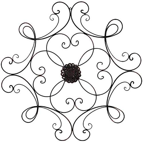 Super Z Outlet Square Scrolled Metal Wall Medallion Decor, Bronze