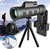 Topmeg Monocular Telescope, 40X60 HD Monocular Telescope Night Vision Waterproof Telescope Monocular for Adults with Smartphone Holder & Tripod for Bird Wildlife Hunting Camping Travelling