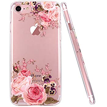 JAHOLAN iPhone 6 Plus Case iPhone 6S Plus Case Girl Floral Clear TPU Soft Slim Flexible Silicone Cover Phone case for iPhone 6 Plus iPhone 6S Plus - Pink Rose Flower