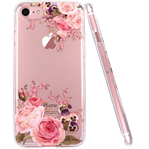 JAHOLAN iPhone 6 Plus Case, iPhone 6S Plus Case Girl Floral Clear TPU Soft Slim Flexible Silicone Cover Phone case for iPhone 6 Plus iPhone 6S Plus - Pink Rose Flower