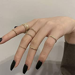 Aimimier Gothic Knuckle Ring Set 7 Pcs Half Open Finger Ring Silver Punk Stackable Rings for Women and Girls