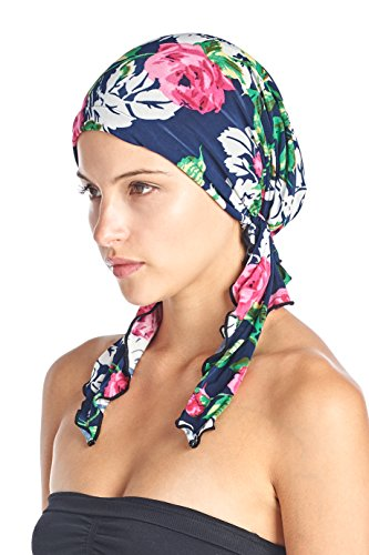 Ashford & Brooks Women's Pretied Printed Fitted Headscarf Chemo Bandana - Blue Pink Roses