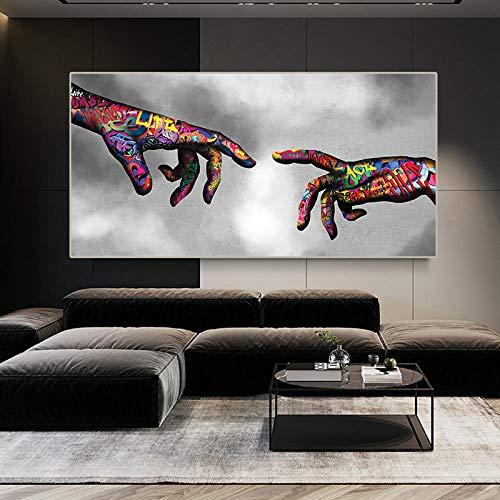 WTYBGDAN Graffiti Art Posters e Impresiones Pintura Arte Callejero Arte Urbano en Lienzo Graffiti Love Hands Cuadros de Pared Sala de Estar Decoración del hogar | 70x140cm / Sin Marco