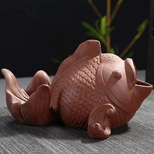 Imagen del producto WOHAO Basura de Interior Puede Retro cenicero, cenicero de Brown Forma de la Arcilla púrpura de la Mascota de Pescado Cigarrillos cenicero decoración del Equipamiento casero del Regalo del Negocio