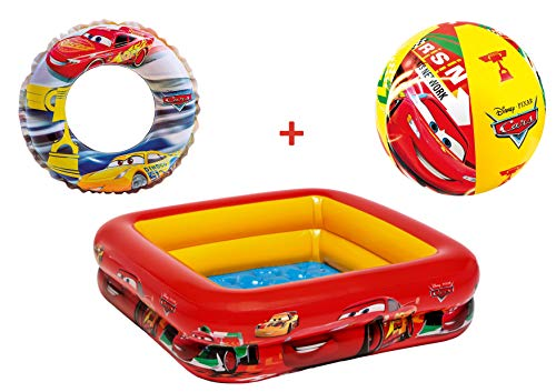 JOVAL -Pack Piscina refrescante Infantil Cars, de 85x85x25 centímetros, con Flotador y Pelota Incluido. con Colores Vibrantes para Jardin terraza o casa