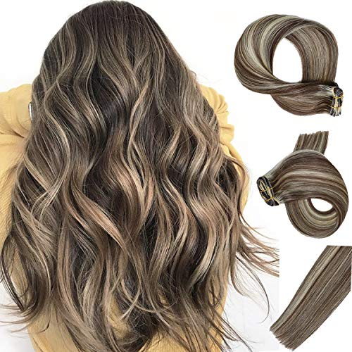 Clip in Hair Extensions 7pcs 70g Set #2/613 Dark Brown with Bleach Blonde Highlights Silky Straight Top Grade 7A Clip-in Hair Balayage Remy Hair Extensions for Women (Dark Brown Hair With Blonde Highlights On Top)