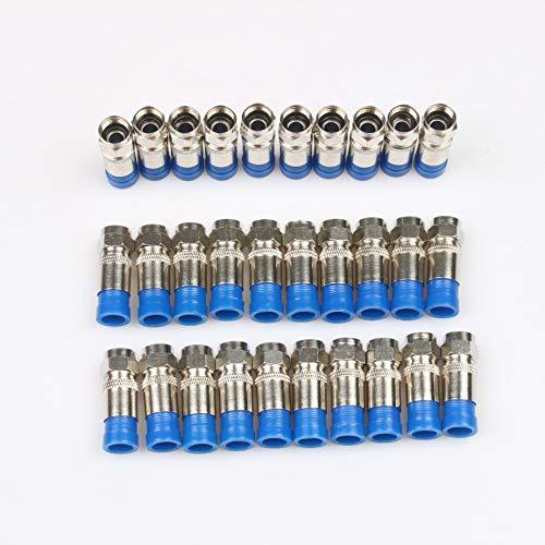 YUXIwang Alicates para pelar alambres multiherramienta para prensar cables coaxial RG59 RG6 Cable TV Crimpadora con 20 cabezas F (color 30 unidades)
