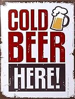 ここで冷たいビール 金属板ブリキ看板警告サイン注意サイン表示パネル情報サイン金属安全サイン