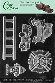 Cybrtrayd Life of the Party J083 Firefighter Kit Ladder, Fire Truck Engine Hydrant Badge Chocolate Candy Mold in Sealed Protective Poly Bag Imprinted with Copyrighted Cybrtrayd Molding Instructions