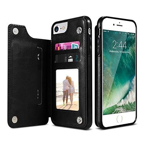 LICHONGGUI Estuche de Cuero Retro de la PU Estuches múltiples for el iPhone 6 6s 7 8 Plus 5S SE, iPhone X XS MAX XR, Samsung S7 S8 S9 S10 (Color : Black)