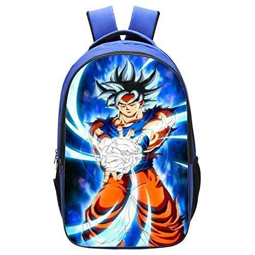 PPWYY Mochila Casual Escuela De Dragon Ball De Dibujos Animados Mochila Anime Goku Doble Capa Niño Cosplay Bookbag Regalo para Niños,E