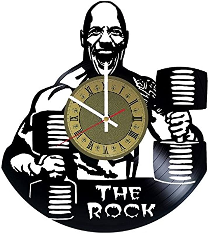 Pieceful The Rock Dwayne Johnson Gym Vinyl Record Wall Clock Artwork Gift Idea For Birthday Christmas Women Men Friends Girlfriend Boyfriend And Teens Living Kids Room Nursery Gold White