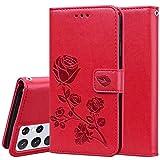 JIAFEI Hülle für Samsung Galaxy S21 Ultra 5G (S30 Ultra) Hülle, Schönes Rosé Blumenmuster Geprägtem, PU Leder Flip Brieftasche Handyhülle Schutzhülle, Rot