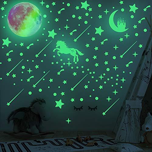 296 pegatinas de estrellas que brillan en la oscuridad y 1 luna brillante colorida, MERYSAN luminosa para decoración de pared de castillo fluorescente para el hogar, el techo, la habitación del bebé