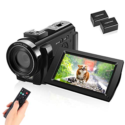 Video Camera Camcorder with Full HD 1080P 30FPS Digital Camera Vlogging Camera for YouTube 3.0 Inch LCD 270 Degrees IPS Screen LED…
