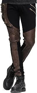 Punk Gothic スチームパンク ゴシック ズボン メンズ ロングパンツ レザー パンツ 右ポケット付き カジュアル パンク ロック レトロ 秋冬 ブラック ブラウン 2色