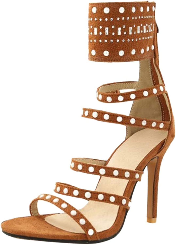 Kaizi Karzi Women Fashion Open Toe Sandals Zip Gladiator Sandals