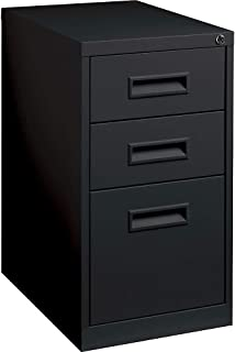 Lorell 1-Divider Mobile Pedestal, Box/Box/File, 15 by 19 by 27-3/4-Inch, Black