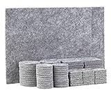 TYEERS Filz-Gleiter-Sortiment 98 tlg. Filzgleiter Selbstklebend Set Effektiver Schutz für Ihrer Möbel, Stühle und Tische - Grau