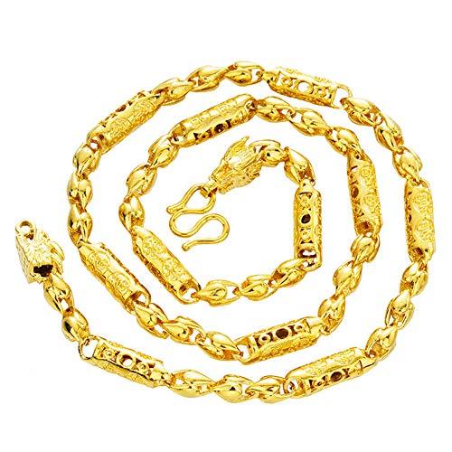 Collar de Oro Amarillo de Vietnam de 24 k de Vietnam. Cadena cilíndrica de dragón. Apariencia y sensación de Joyas de Oro Macizo.