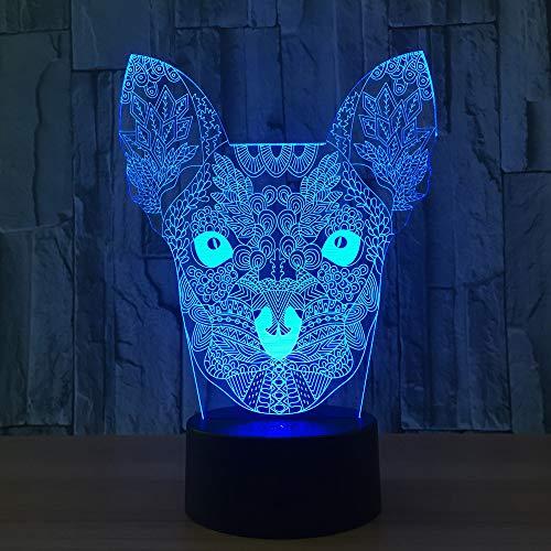 Chat Fleur 3D Lampe Veilleuse Optique Illusions 7 Changement de Couleur Acrylique Toucher Tableau Lampe de Bureau pour Enfants Chambre Noël Cadeaux d'anniversaire,Interrupteur Tactile