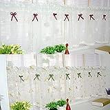 Yujiao Mao Amerikanisches Land Art gestickten Gaze Vorhang Bistrogardine Küchengardine Scheibengardine, BxH 140x80cm, Weiss - 2