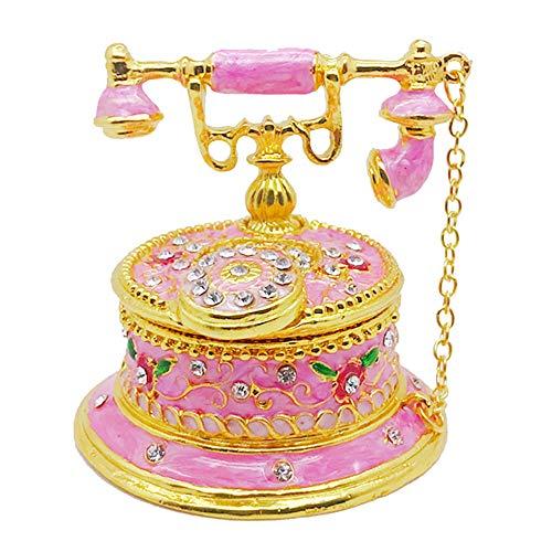 Gishima Joyero coleccionable para teléfono con joyas pintadas a mano, esmaltado decorativo