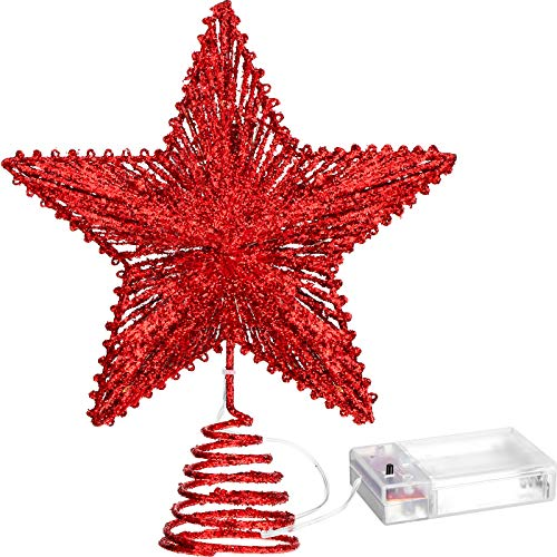 Aoriher 20 Light 10 Inches Christmas Star Tree Toppers Battery Operated Tree Topper with 20 Mini LED Lights for Christmas Holiday Seasonal Decoration (Red)