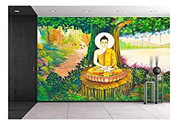 wall26 - Traditional Thai Style Painting Art on Temple Wall,Thailand.Generality in Thailand - Removable Wall Mural   Self-Adhesive Large Wallpaper - 66x96 inches