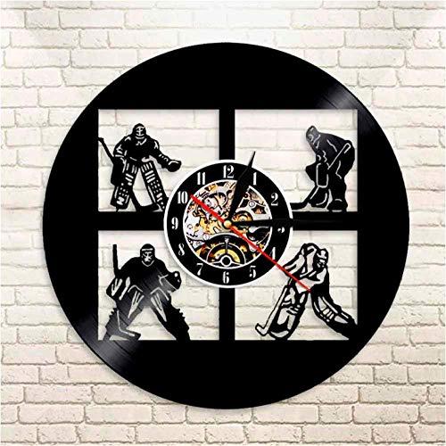 Reloj de pared de vinilo de hockey con grabaciones de hockey de Estados Unidos, jugadores, porteros, decoración de pared de la habitación de deportes, reloj de pared de vinilo vintage