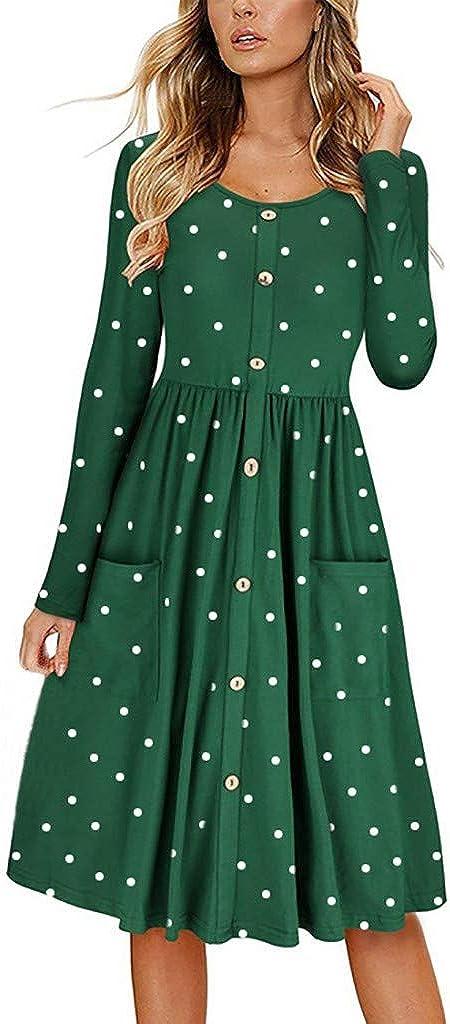 Women Dot O Neck Button Dress Long Sleeve Pocket Casual Beach Long Maxi Dress