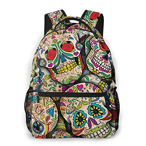 Sugar Skull Collage Backpack Men'S And Women'S Daypack Casual Bookbag Girls And Boys Best Schoolbag