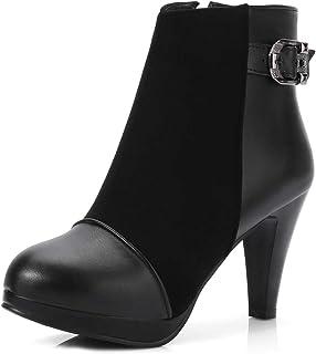 MIOKE Women's Fashion Round Toe Dress Ankle Boots Buckle Platform Zipper Stiletto High Heel Short Booties