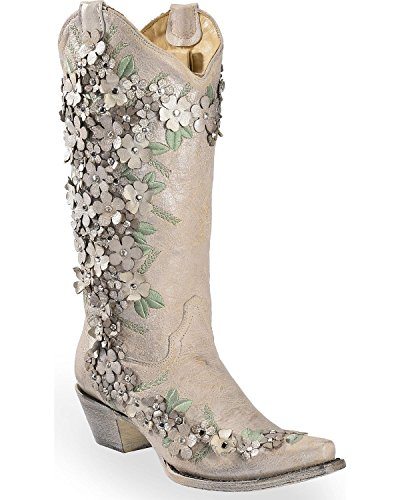 CORRAL Women's White Floral Overlay Embroidered Stud and Crystals Cowgirl Boot White 9 M