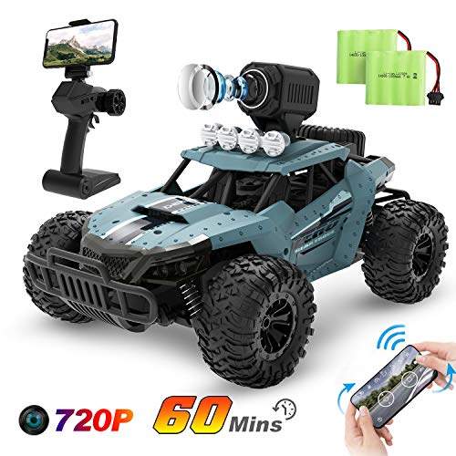 DEERC RC Cars DE36W Remote Control Car with 720P HD FPV Camera, 1/16 Scale Off-Road Remote Control Truck, High Speed Monster Trucks for Kids Adults 2 Batteries for 60 Min Play, Gift for Boys and Girls