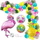 JOYMEMO Ballons de Guirlande Thème Hawaiian Tropical Plage Eté 109 Kit Ballons de Baudruche Flamant Ananas Décorations d'anniversaire Fête Prénatale Mariage