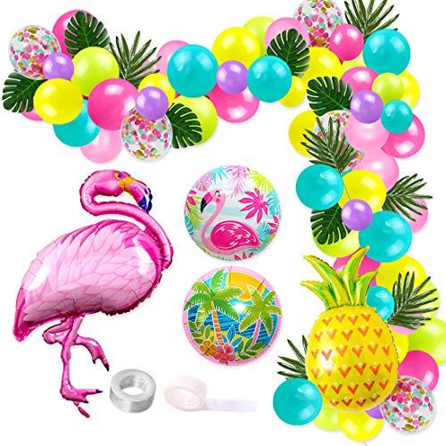 JOYMEMO Globo Tropical Hawaiano Guirnalda Kit de Arco Flamingo Palmera Piña Globos de Aluminio para la Playa de Verano Fiesta temática de Luau Cumpleaños Baby Shower