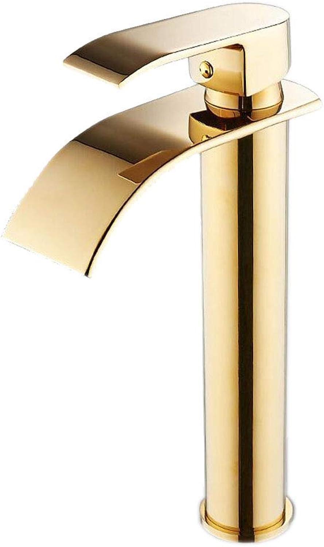 ZTMN Wasserhahn Gold Alle Bronze Wasserfall Ultradünne Wasserhahn Heies und kaltes Badezimmer (Farbe  A2), Golden 2, a