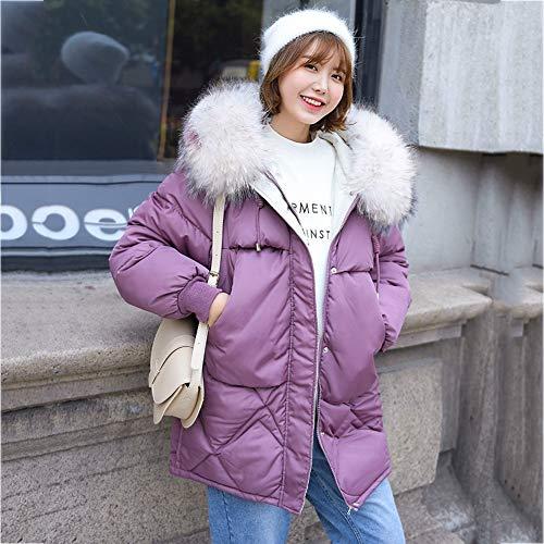 YGCLOTHES - Chaqueta de plumón cálido para mujer, con capucha, corto, suelto, acolchada, gruesa, para invierno, plegable, resistente al viento, algodón, manga larga, casual, 1221SUNY, morado, medium