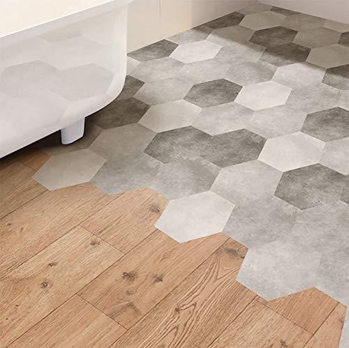 10 stück/Satz Zement Schwarze und weiße Asche Hexagonal Fliese Aufkleber Bad Küche DIY Zuhause rutschfeste Fußboden Fliesen Aufkleber DB075