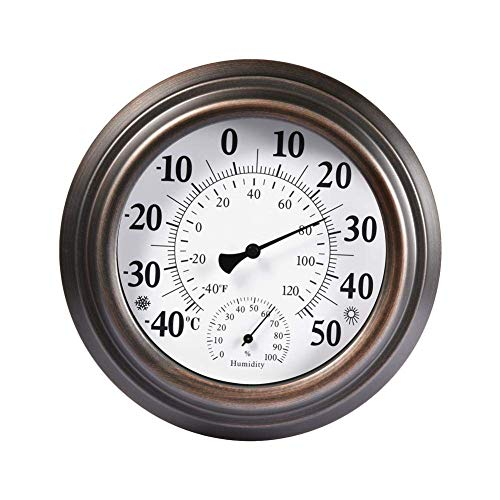 Reeseiy Thermometer Hygrometer Wand Zeigerthermometer Raumthermometer Antike Bemalte Eisenhülle Innen Chic Außen Hygrometer Hochpräzise Für Haussauna Gemüseterrasse Gewächshaus 20Cm