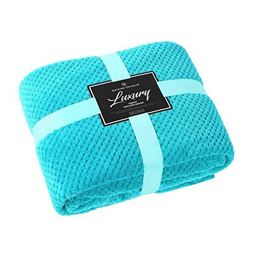 Popcorn Throws Cuddly Cosy Soft Warm Fleece Blanket For Couch Sofa & Bed 2 Seater Sofa Cover 3 Seater Sofa Throw Large Luxury Throws Double & King Size (Teal, Double: 150 X 200)